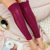 Lovely Fashion Hollow-out Knee-high Wine Red Socks