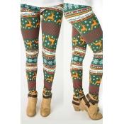 Милые Модные Рождественские Печатные Зеленые Леггинсы