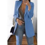 Abrigo Azul Marino De Manga Larga Casual Encantador