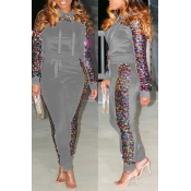 Lovely Casual Sequined Decorative Grey Two-piece Pants Set