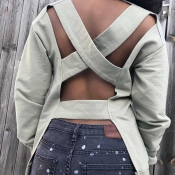 Lovely Casual Cross Hollowing Grey Hoodies