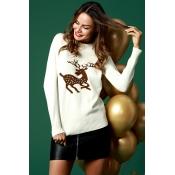 Lovely Casual Elk Pattern White Cotton Blends Swea