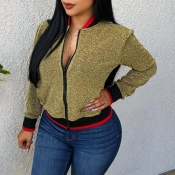 Lovely Casual Long Sleeves Gold Coat