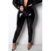 Moda Encantadora Flaco Negro Pantalones De PU