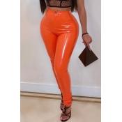 Lovely Fashion Skinny Orange PU Pants