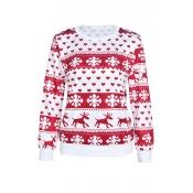 Lovely Casual Snowflake Elk Pattern Red Hoodies