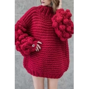 Lovely Casual Puff Sleeves Wine Red Cotton Sweater