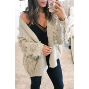 Lovely Fashion Tassel Apricot Cardigans