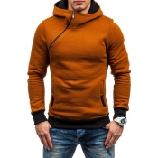 Lovely Casual Inclined Zipper Light Tan Hoodies