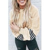 Lovely Chic Striped Patchwork Apricot Velvet Sweat