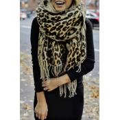 Lovely Casual Leopard Beige Blended  Scarves