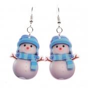 Lovely Likable Christmas Snowman Blue Earring