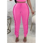Lovely Trendy Ruffle Design Pink Knitting Skinny P