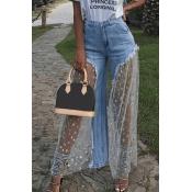 Lovely Sweet Gauze Patchwork Light Blue Denim Jeans