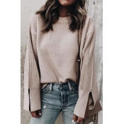 Lovely Trendy Slit Dusty Pink Sweaters