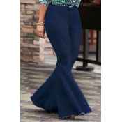 Lovely Trendy High Waist Flared Deep Blue Denim Zi