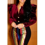 Elegantes Blusas De Color Rojo Vino Con Volantes Elegantes