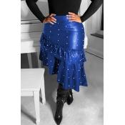Lovely Sweet Flounce Design Blue PU Skirts