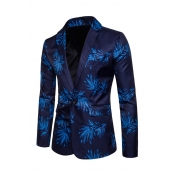 Lovely Casual Floral Printed  Blue Cotton Formal W