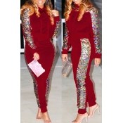 Lovely Casual Sequined Decorative Red Two-piece Pa