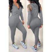 Lovely Casual Hollowed-out Grey Knitting One-piece