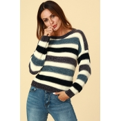 Lovely Trendy Striped Grey Sweaters
