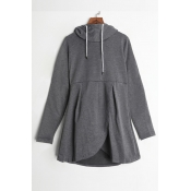 Lovely Casual Drawstring Grey Cotton Hoodies