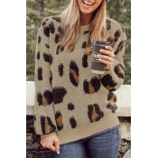 Lovely Casual Long Sleeves Leopard Pattern Sweater