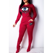 Lovely Trendy Sequined Decorative Red Two-piece Pants Set
