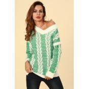 Lovely  Casual  Striped Green Sweaters