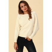 Lovely Work Long Sleeves White Acrylic Sweaters