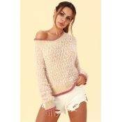 Lovely Casual Patchwork Apricot Sweaters