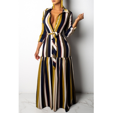 Lovely Fashion Striped Dark Blue Floor Length Dress
