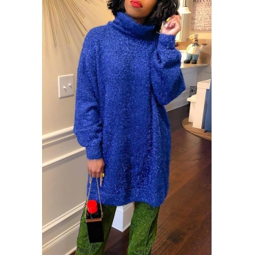 Lovely Fashion Loose Version Blue Blending Sweaters