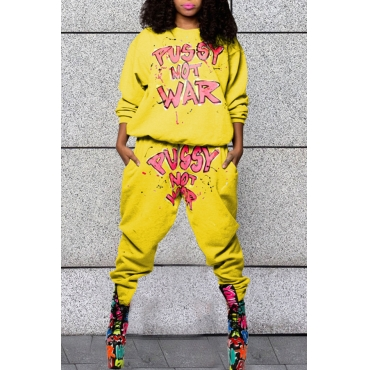 Lovely Casual Letters Printed Yellow Blending Two-piece Pants Set