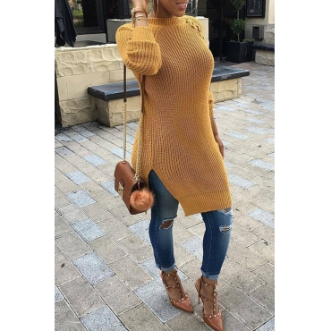 Lovely Fashion Lace-Up Design Yellow Acrylic Sweaters