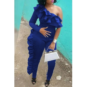 Lovely Euramerican Flounce Design Blue One-piece Jumpsuit