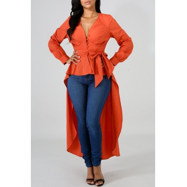 Lovely Casual Asymmetrical Hems Orange Blending Shirts