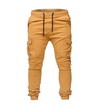Lovely Casual Pockets Yellow Cotton Blends Pants