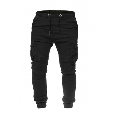 Lovely Casual Pockets Black Cotton Blends Pants
