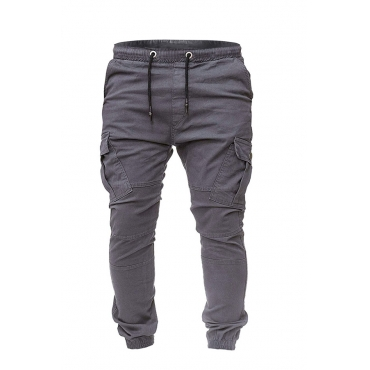 Lovely Casual Pockets Dark Grey Cotton Blends Pants