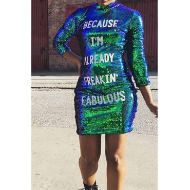 Lovely Sexy Long Sleeves Letters Sequined Green Mini Dress
