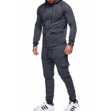 Lovely Casual Long Sleeves Dark Grey Cotton Blends Two-piece Pants Set