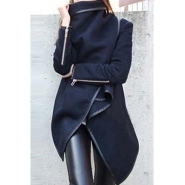 Lovely Casual Long Sleeves Irregular Dark Blue Coat