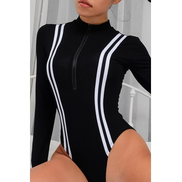 Lovely Casual Long Sleeves Striped Black Cotton Bodysuit