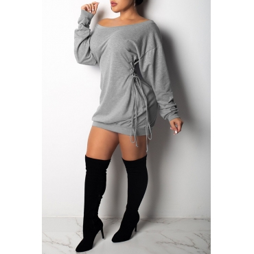 Lovely Casual Long Sleeves Lace-Up Grey Mini Dress