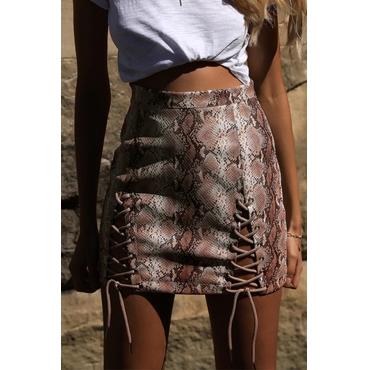 Lovely Sexy Snakeskin Grain Lace-up Coffee PU Sheath Skirts