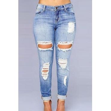 Lovely Casual Broken Holes Skyblue Denim Jeans