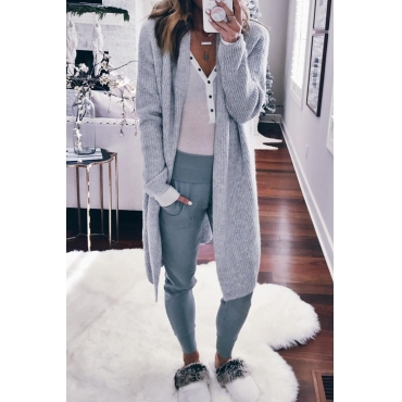Lovely Fashion Long Sleeves Light Grey Sweater Cardigans