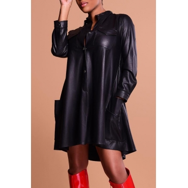 Lovely Fashion Long Sleeves Black PU Knee Length Dress
